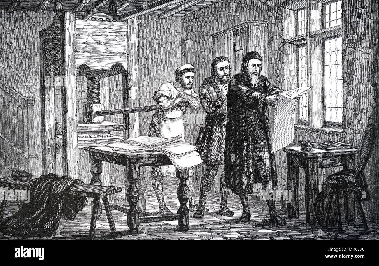 Engraving depicting Johannes Gutenberg examining the first ...