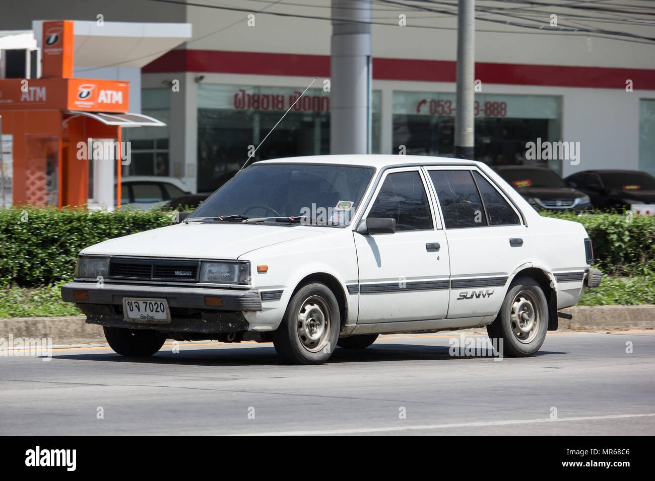 Chiang Mai Thailand May 18 2018 Private Old Car Nissan Sunny On