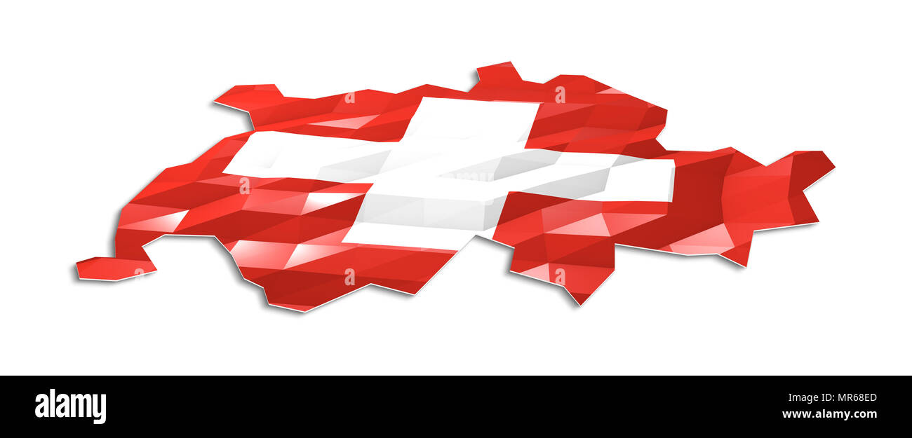 Low poly flag in Map of Switzerland, 3d rendering, art icon - Stock Image