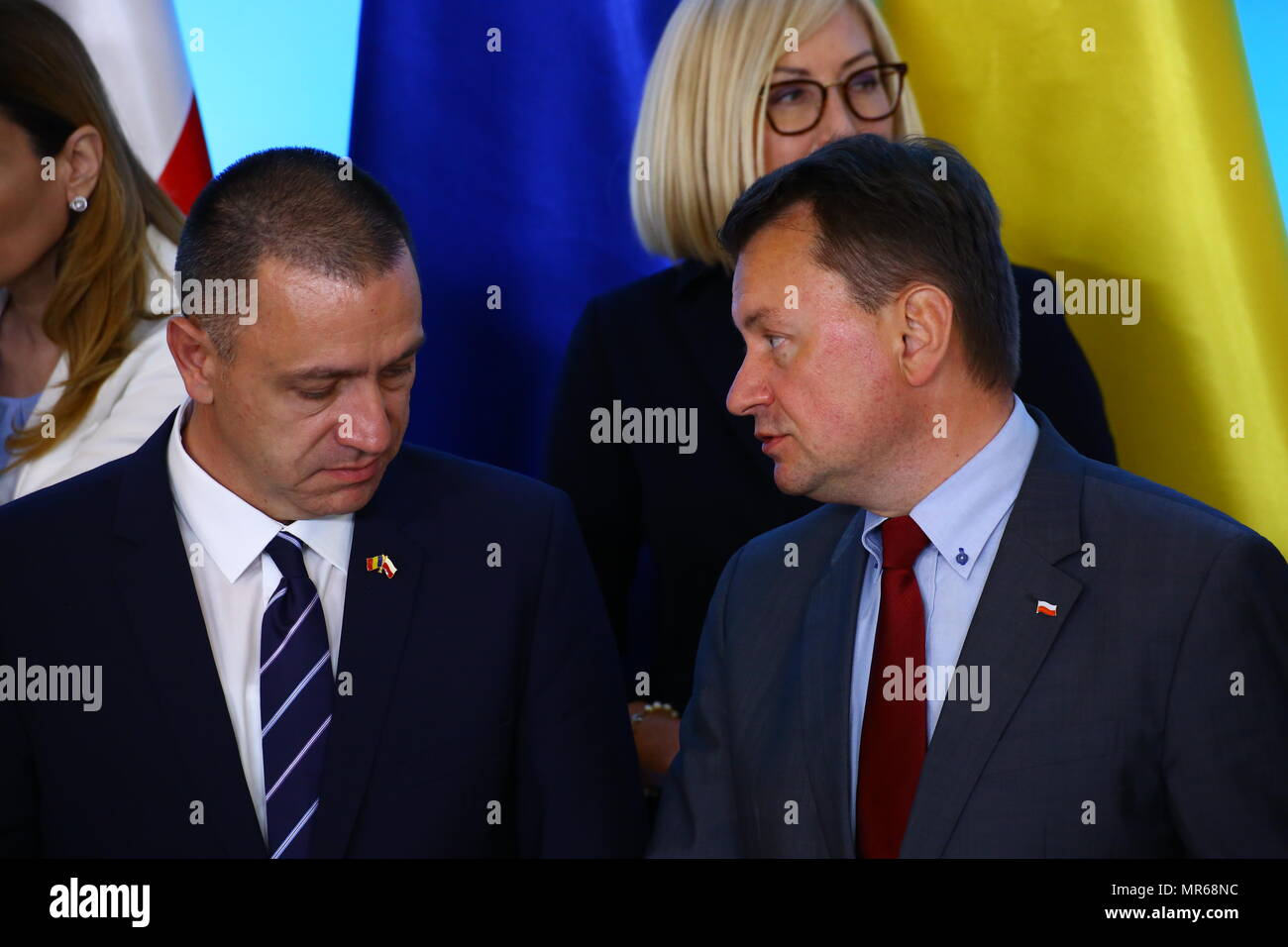 Warsaw Poland 25th May 2018 Romanian Minister Of Defense