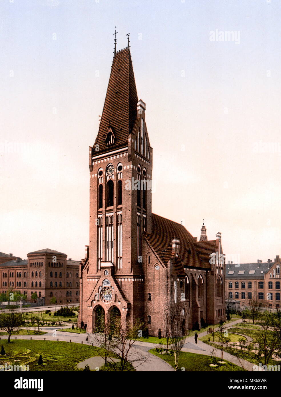 1900 Vintage postcard of Christ Church, Bromberg, Silesia [i.e., Posen] Germany  Bydgoszcz, Poland Stock Photo