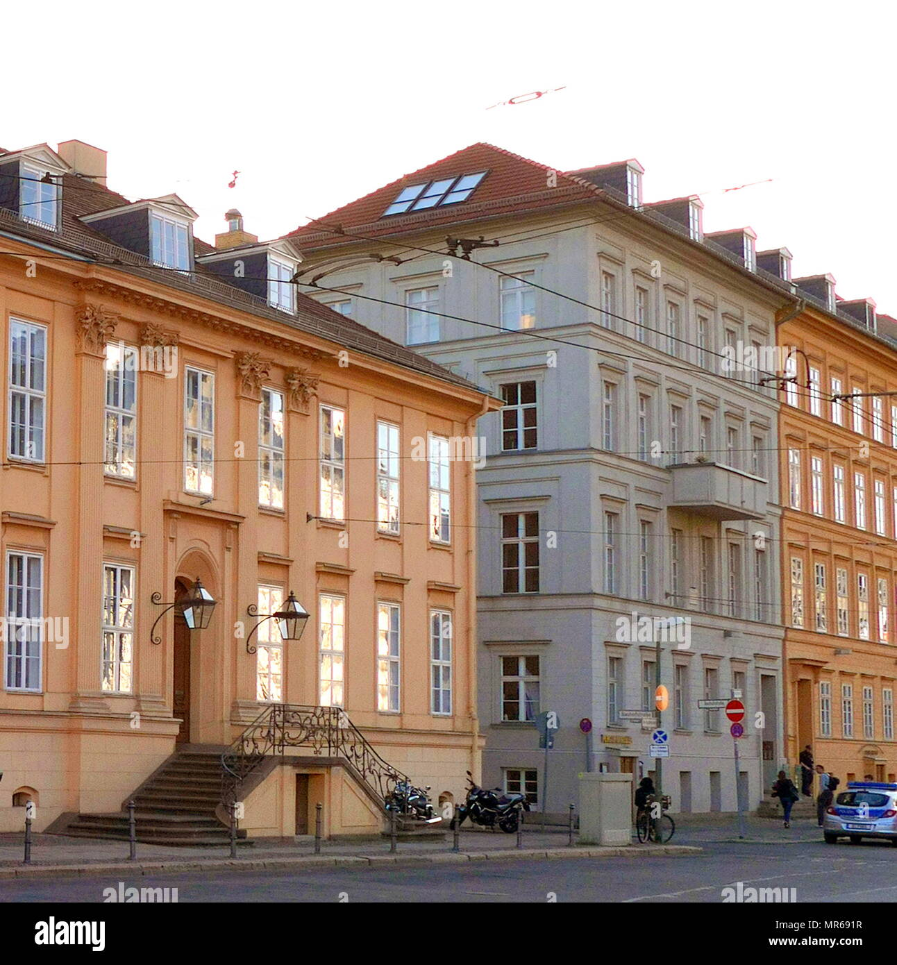 German Chancellor Angela Merkel lives in this apartment at Kurpfergraben 6, in the Mitte District of Berlin. - Stock Image