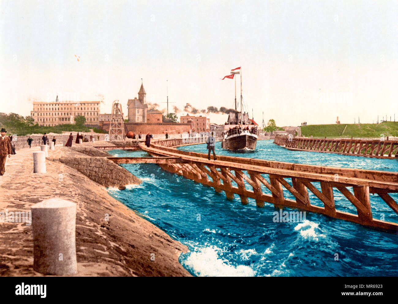 1900 postcard depicting the Harbour, hotel and pilot station in Colberg, Pomerania, Germany Kołobrzeg (Poland). - Stock Image
