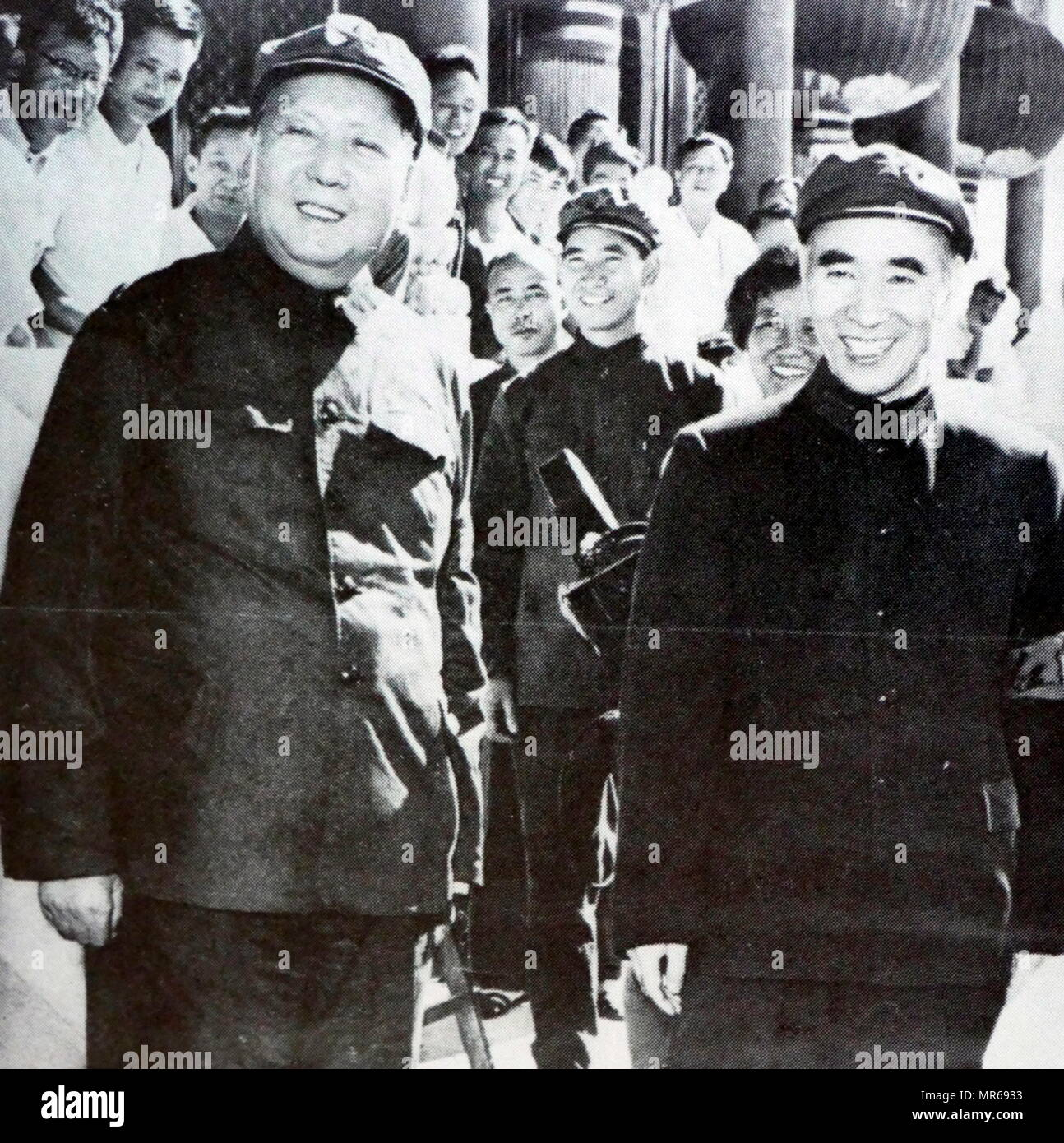 Mao Zedong with Lin Biao in Beijing, during the Chinese Cultural Revolution 1966 - Stock Image