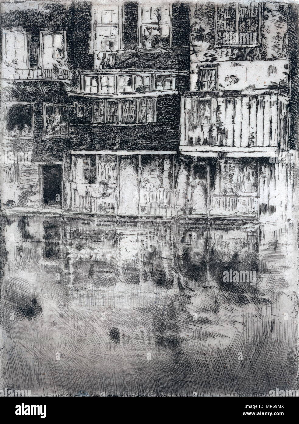 Square house, Amsterdam by James McNeil Whistler 1898 - Stock Image