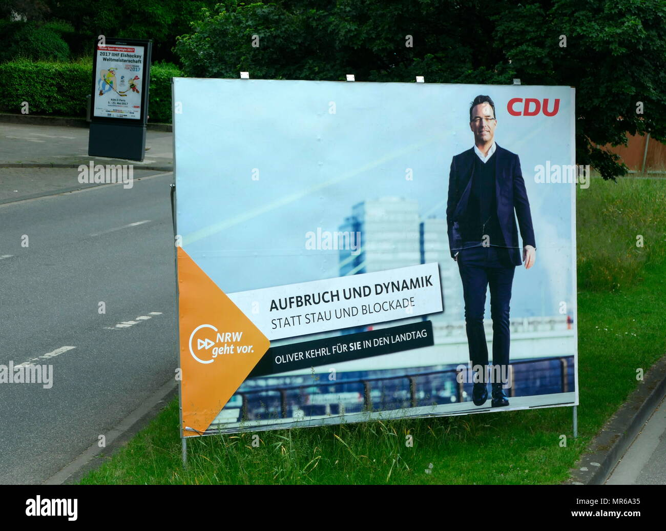 poster for the CDU Party candidate, Oliver Kehrl, during the North Rhine-Westphalia state election, Cologne. May 2017 - Stock Image