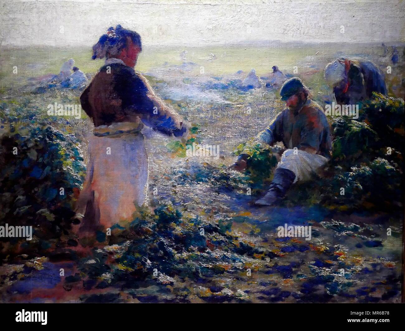 Beer Lifting' 1899 painted by Leon Wyczołkowski (1852–1936), painter - Stock Image