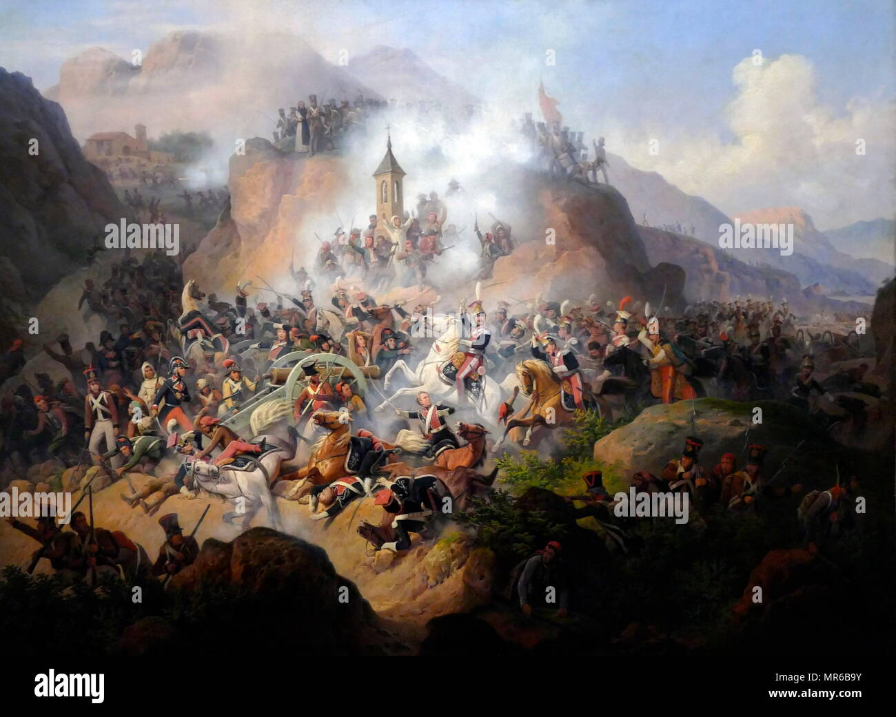 The Battle of Somosierra, by January Suchodolski (1797–1875), painter. The Battle occurred November 30, 1808, in the Peninsular War, when a French army under Napoleon I forced a passage through the Sierra de Guadarrama, shielding Madrid Stock Photo
