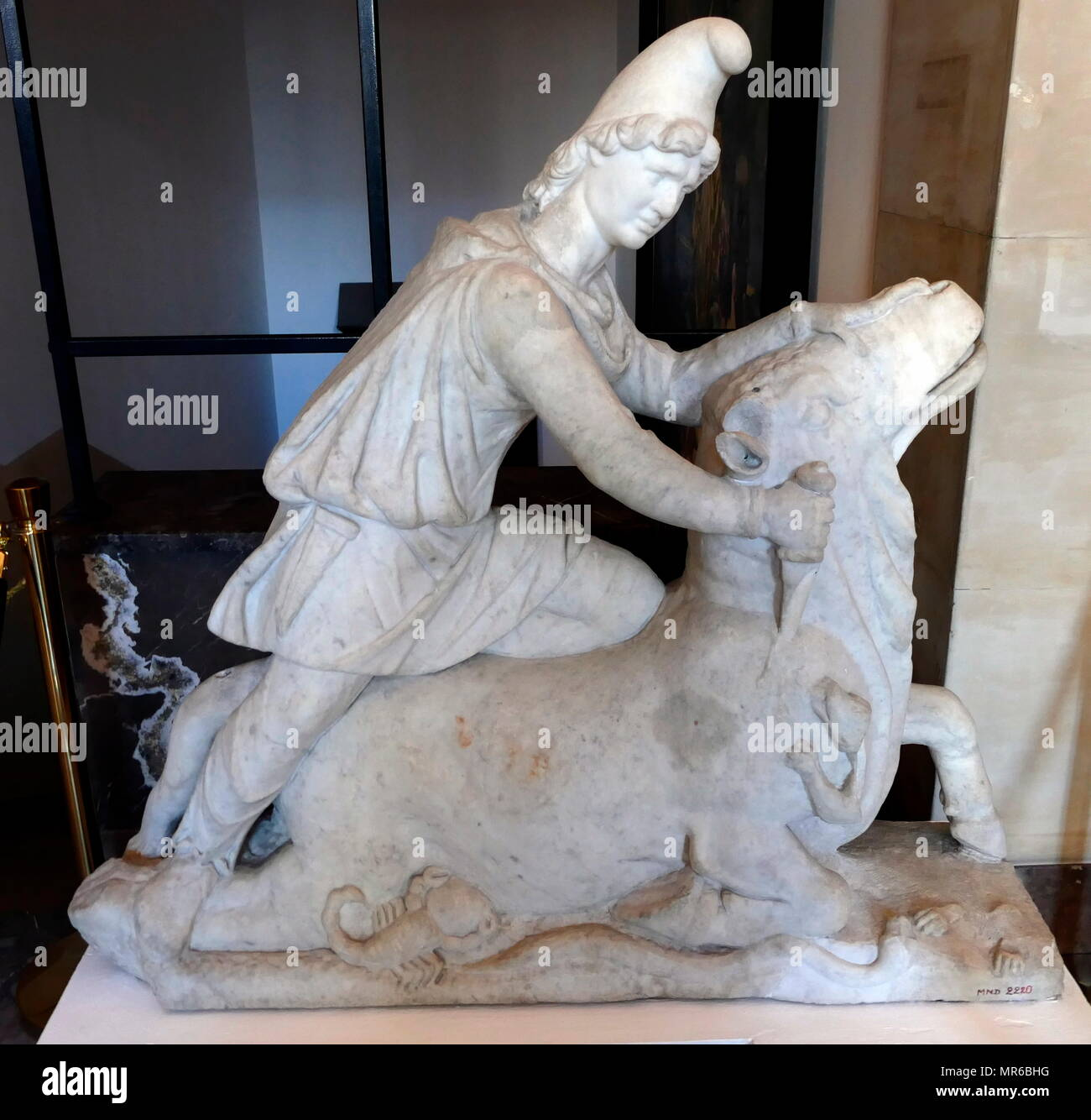 Marble statue of Mithras slaying a Bull. Roman, 2nd or 3rd century AD - Stock Image