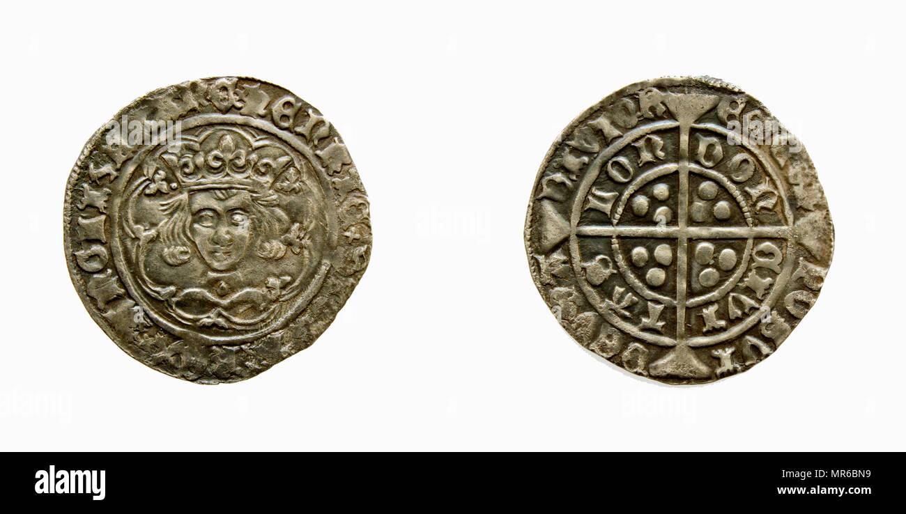 Henry V1 groat. leaf pellet. hammered silver coin. - Stock Image