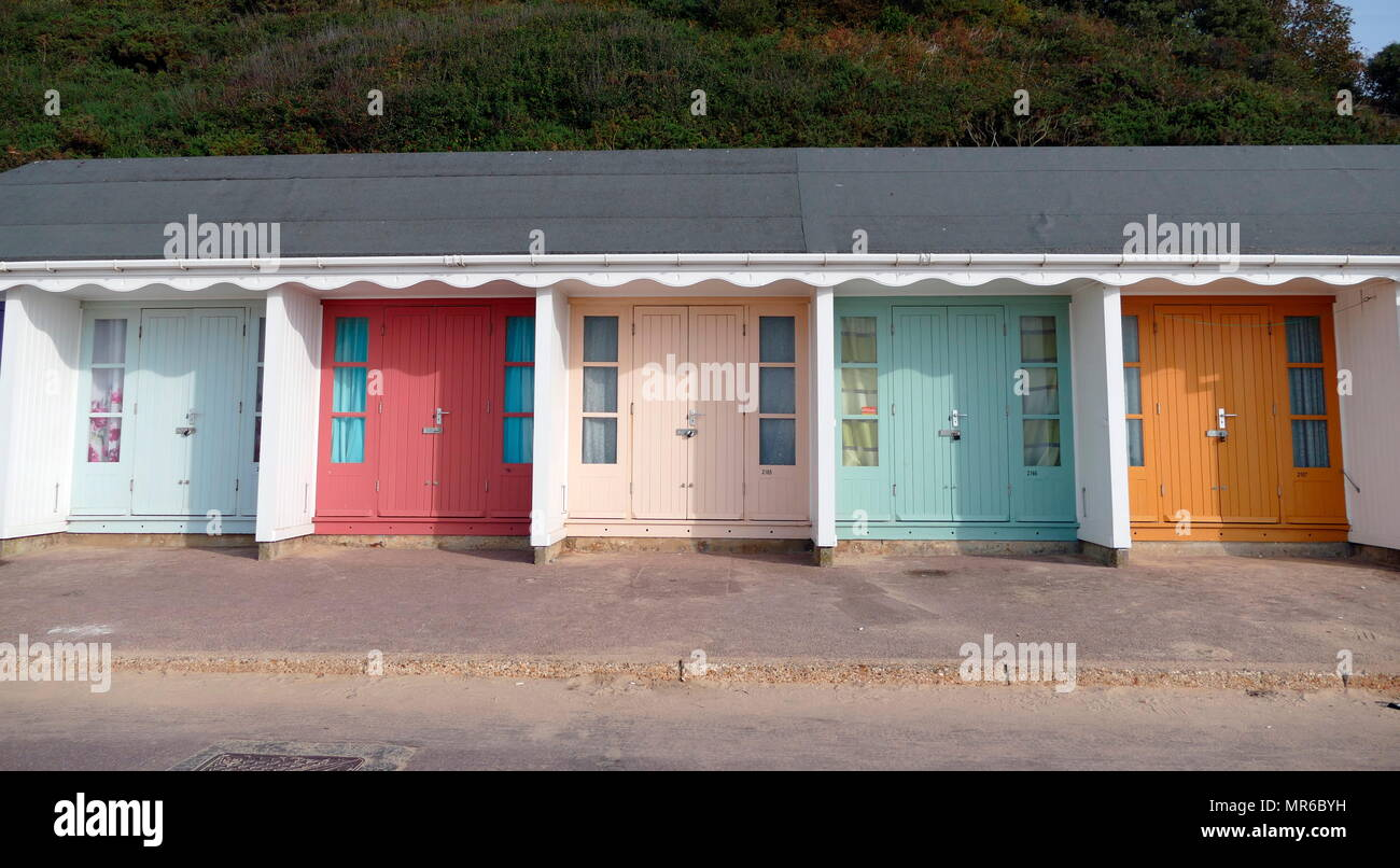 Beach Hut for hire at Alum Chine, Dorsetshire, England. A traditional facility for family beach holidays these huts date to the 1950's - Stock Image