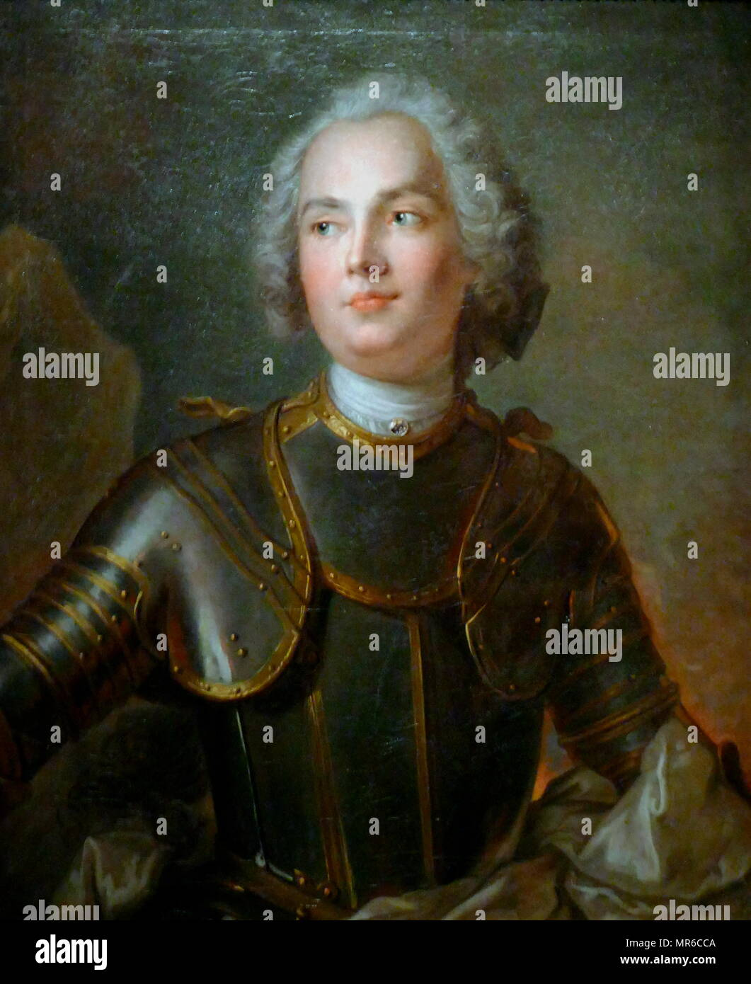 Adam Tarło (1713–1744); Polish nobleman. portrait by Jean-Marc Nattier (1685–1766). Date circa 1740. Tarło was during the War of Polish Succession (1734-1738), a supporter of Stanisław I Leszczyński and was commander of partisans of the short-lived Dzikow Confederation. He was killed by Count Kazimierz Poniatowski in a duel in 1744 - Stock Image