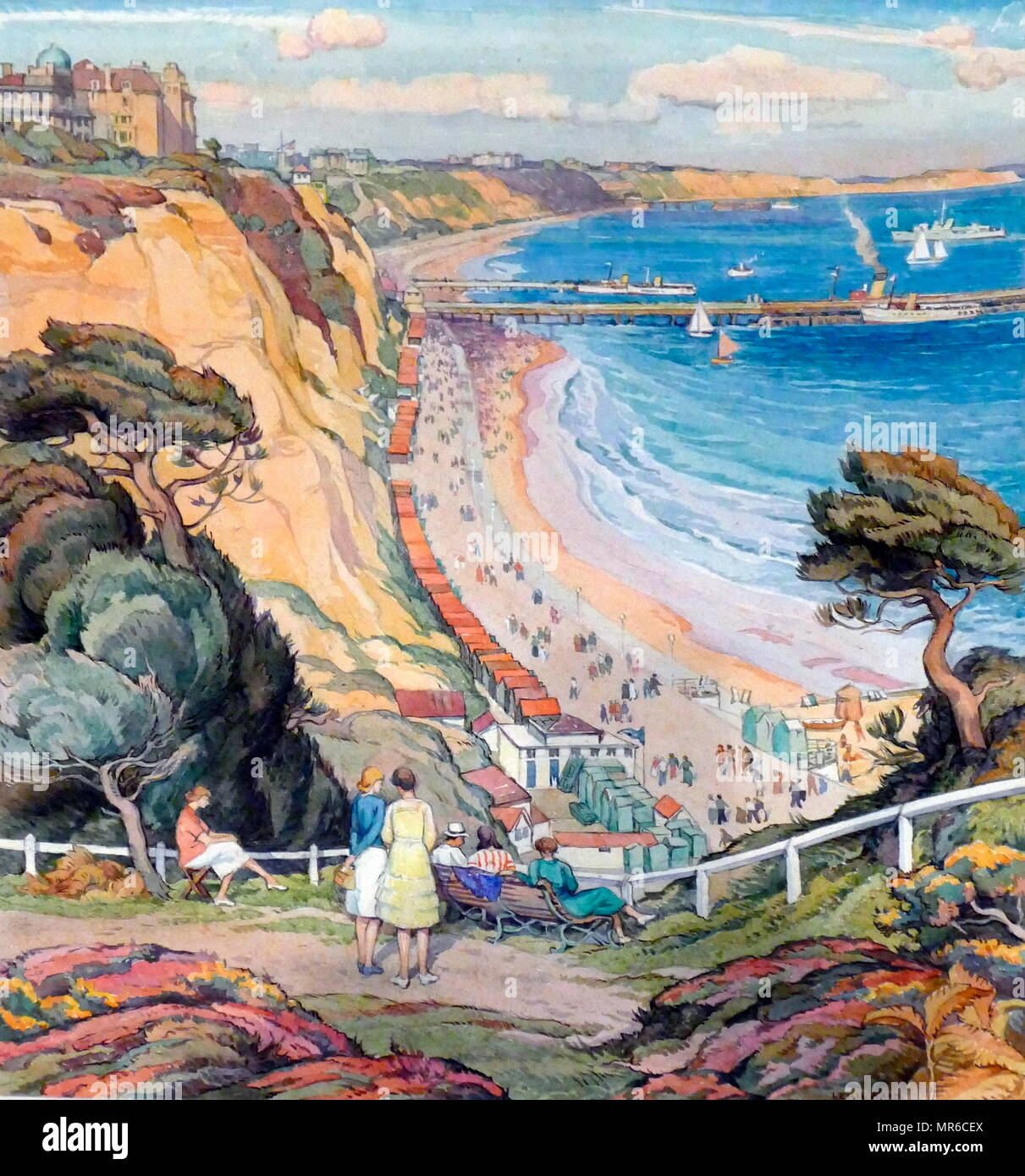 The Bay from Durley Chine, 1920-1930. Painted by Leslie Moffatt Ward (1888-1978). Watercolour on paper - Stock Image