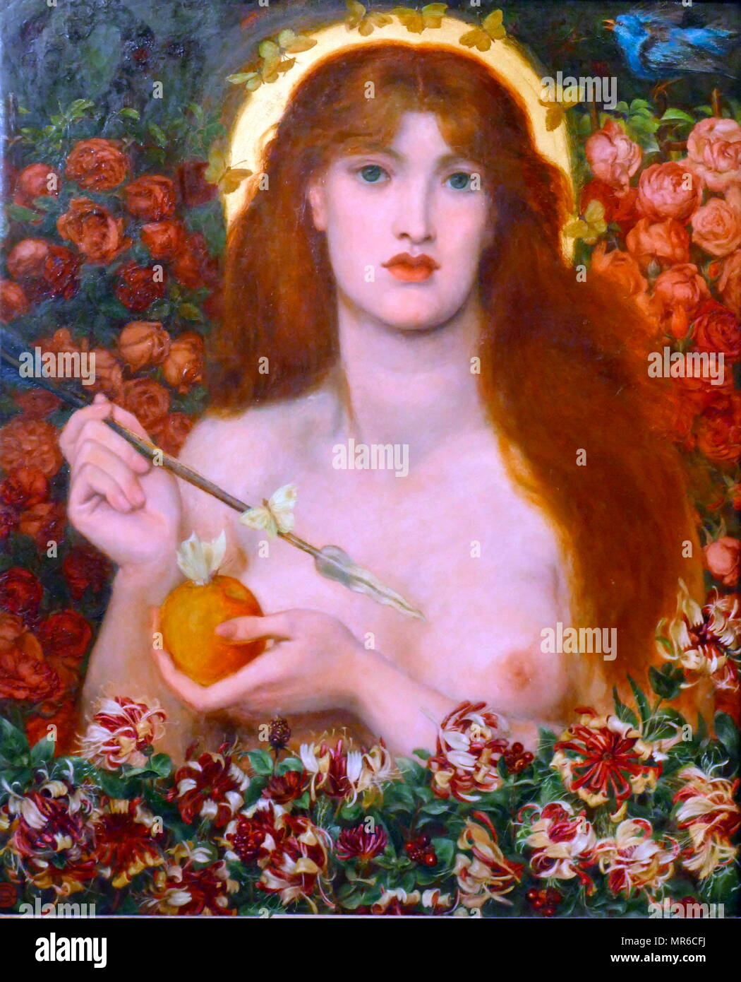 Venus Verticordia (1868), painted by Dante Gabriel Rossetti. Venus Verticordia ('the changer of hearts') was an epithet of the Roman goddess Venus, alluding to the goddess' ability to change hearts from lust to chastity. Dante Gabriel Rossetti (1828 – 1882) was a British poet, illustrator, and painter. He founded the Pre-Raphaelite Brotherhood in 1848 - Stock Image