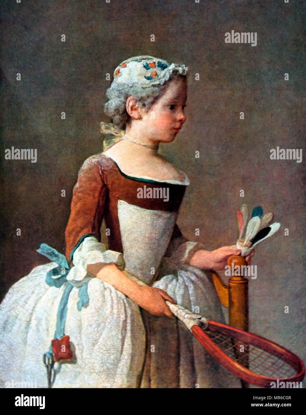 Girl with Racket and Shuttlecock circa 1740 by Jean-Baptiste-Simeon Chardin. Style of painting is Rococo - Stock Image