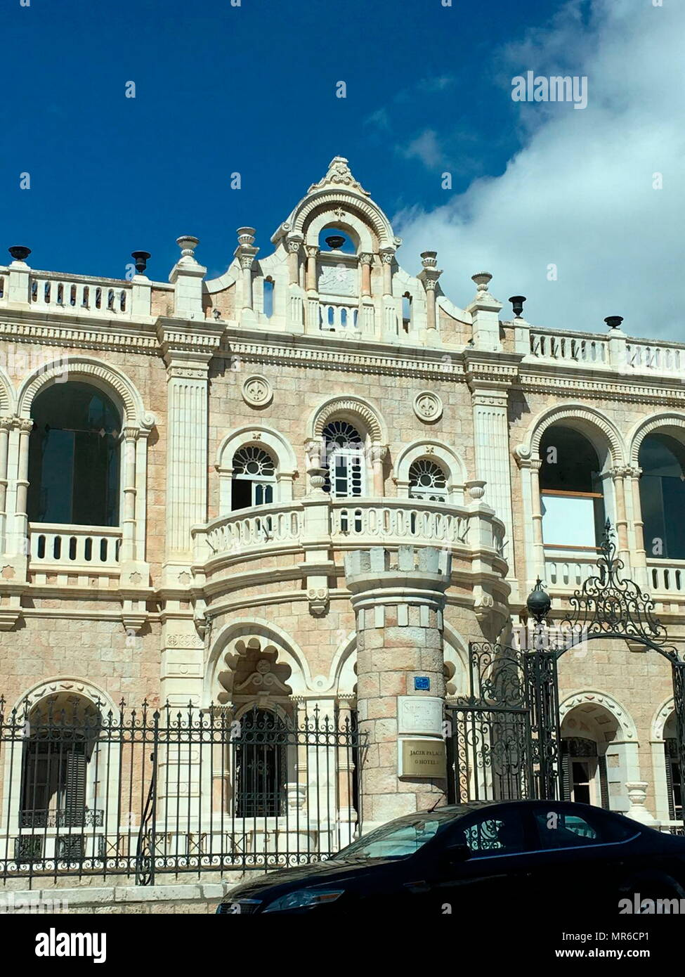 Jacir Palace or Qasr Jacir, is the largest hotel in Bethlehem in the central West Bank. The building's original design, based on typical Palestinian architecture, was built in 1910 - Stock Image