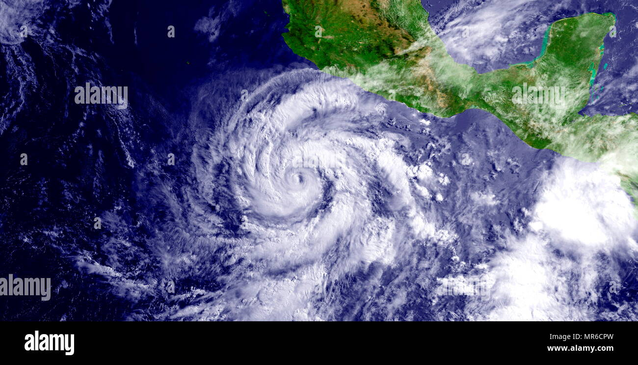 Hurricane Blanca; (Cat. 4), June 2015. Hurricane Blanca developed from a tropical wave south of Acapulco, Mexico on May 31st. Blanca slowly drifted to the northwest over the next few days, reaching Category 4 strength with winds of 140 mph. Blanca made landfall near Puerto Cortes, Mexico on the Baja California peninsula. - Stock Image