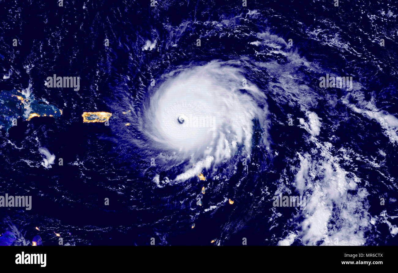 Hurricane Irma striking Barbuda in the Leeward Islands September 2017. Irma's winds surpassed 185 miles (295 kilometres) per hour, making it the strongest storm to ever hit the islands and one of the strongest storms ever measured in the Atlantic basin. - Stock Image