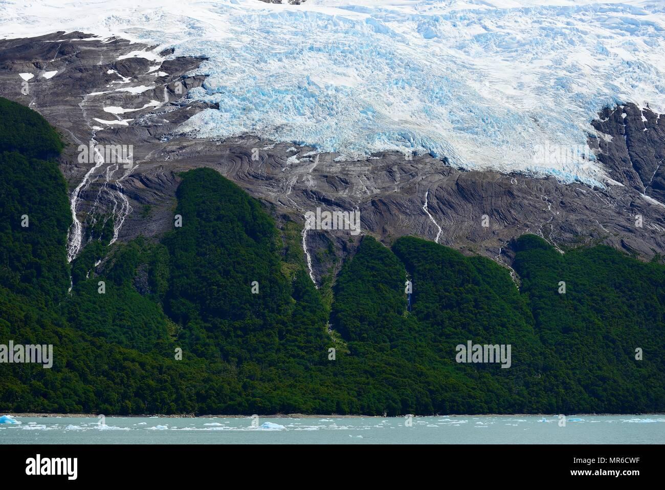 Melting arm of the Spegazzini Glacier on Lake Argentino, Parque Nacional Los Glaciares, El Calafate, Santa Cruz Province - Stock Image