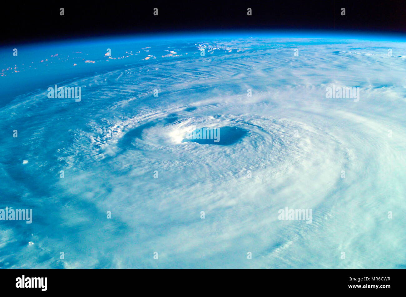 Hurricane Isabel from space in 2003. Hurricane Isabel was the costliest, deadliest, and strongest hurricane in the 2003 Atlantic hurricane season - Stock Image