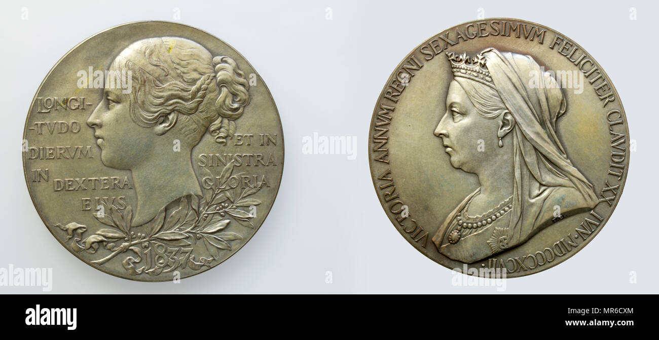 1897 Victoria Diamond Jubilee Silver Medallion. 60th Anniversary of the Accession of Queen Victoria - Stock Image