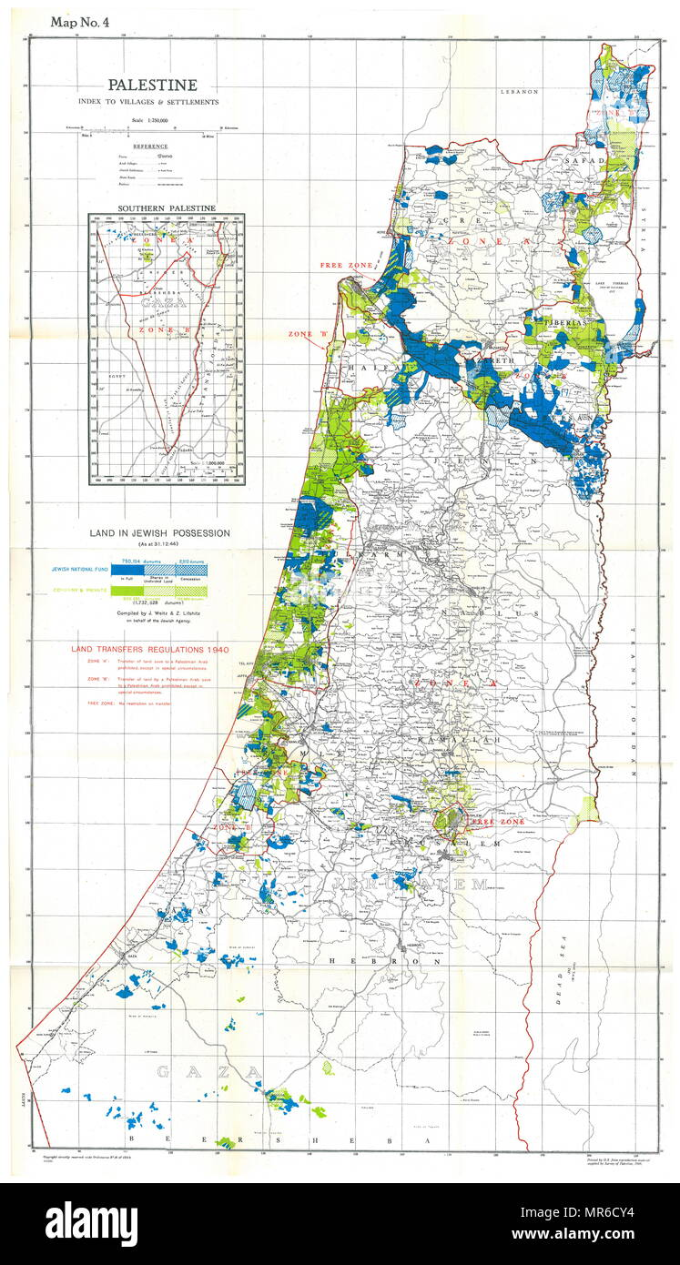 Palestine Map showing villages and settlements, in Jewish possession 1944 - Stock Image