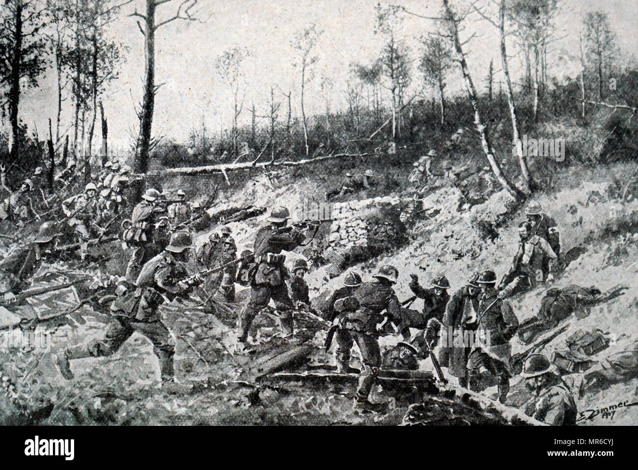 German troops confront French forces during the Second Battle of the Aisne, April 1917, during World War One. However, as French infantry reached the plateau, it was slowed down and then stopped by the intense fire of a very high number of the Germans' machine guns. As a result, the French took 40,000 casualties on the first day alone. Furthermore, during the following 12 days of the battle, French losses continued to rise to 120,000 casualties (dead, wounded, and missing). The final count, when the offensive was over, was 271,000 French casualties and 163,000 Germans casualties. - Stock Image