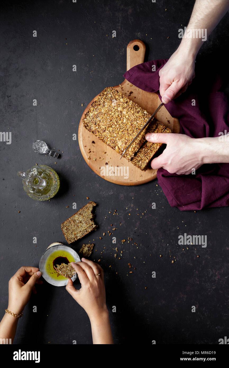 Gluten Free Bread and Oil - Stock Image