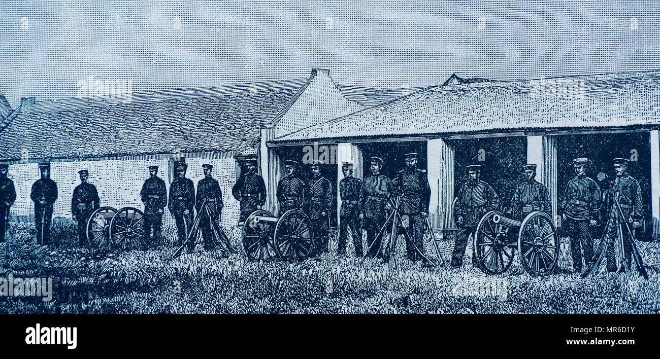 Soldiers of the Zuid-Afrikaansche Republiek (South African Republic) 1882. The Republic came into existence in 1852, when the United Kingdom signed the Sand River Convention treaty with about 40,000 Boer people, recognising their independence in the region to the north of the Vaal River - Stock Image
