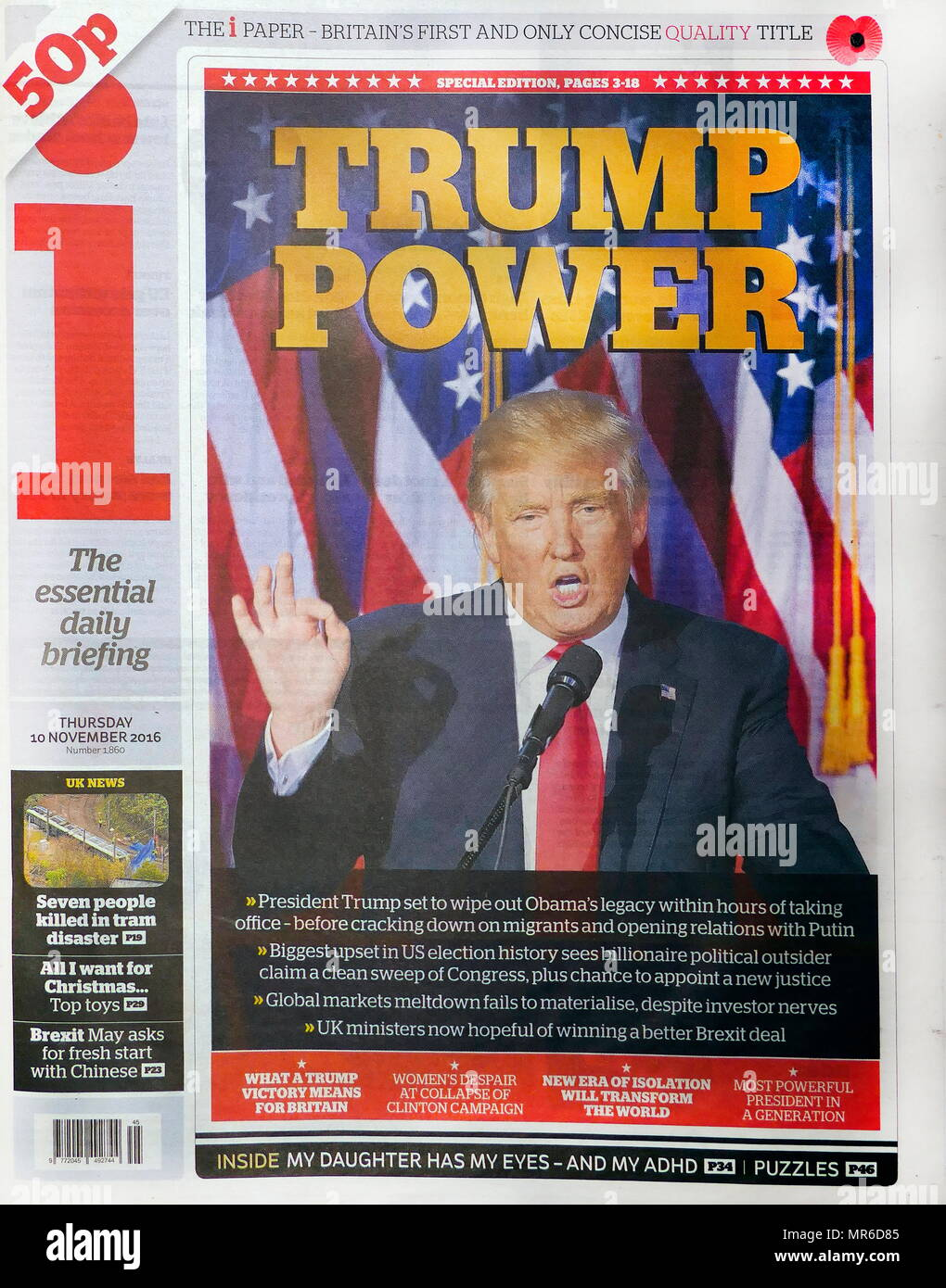 Front page headline of the British newspaper 'The I' 10th November 2016. Trump Power. - Stock Image