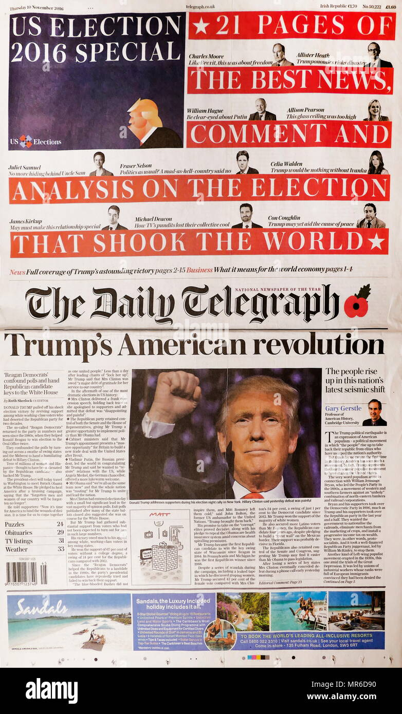 Front page headline of the British newspaper 'The Daily Telegraph' 10th November 2016. Trump's American revolution. - Stock Image