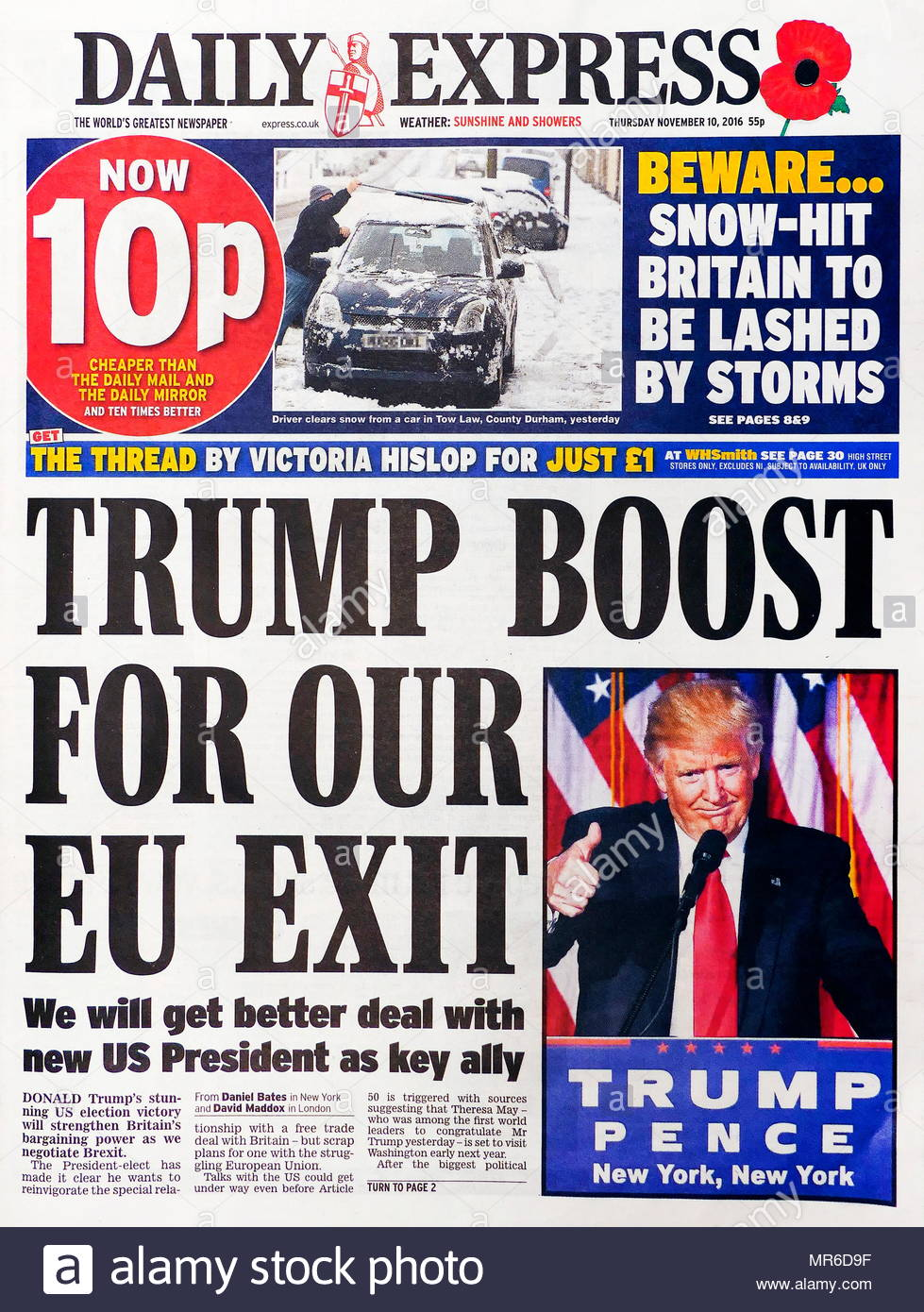 Front page headline of the British newspaper Daily Express 10th November 2016. Trump Boost for EU Exit. - Stock Image