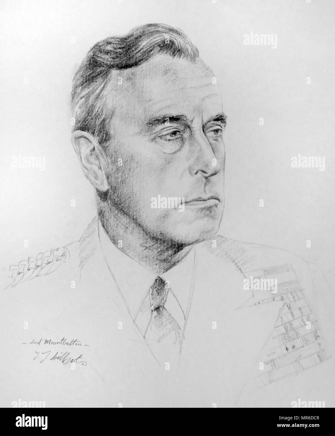 Pencil Portrait of Admiral of the Fleet Louis Mountbatten, 1st Earl Mountbatten of Burma (1900 – 1979). British naval officer. During the Second World War, Supreme Allied Commander, South East Asia Command (1943–46). He was the last Viceroy of India (1947) and the first Governor-General of independent India (1947–48). By J J Hilbert. - Stock Image
