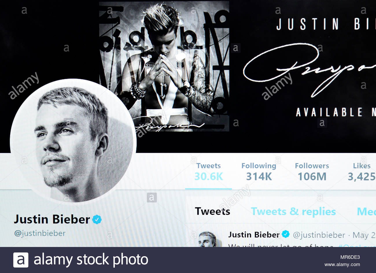 Justin Bieber Twitter page (2018) - Stock Image