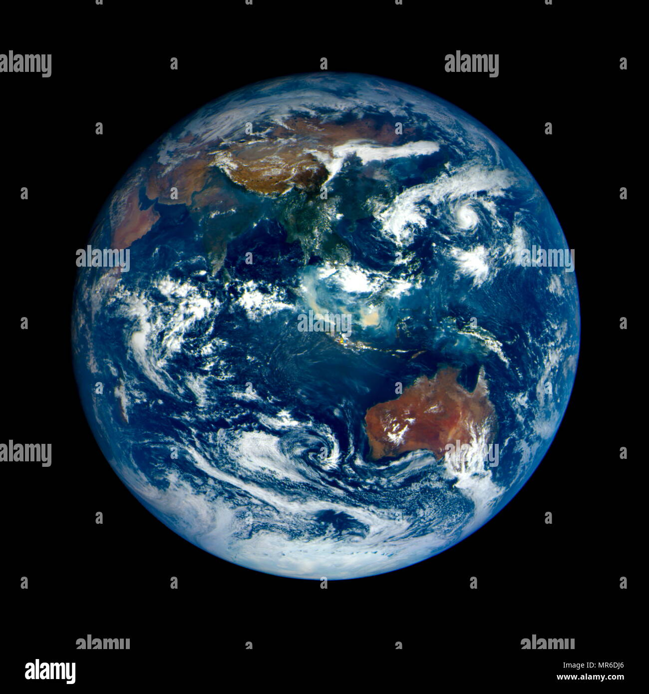 Satellite photograph of the Southern Indian Ocean and the land masses of the Indian and Australian continents. 2015 - Stock Image