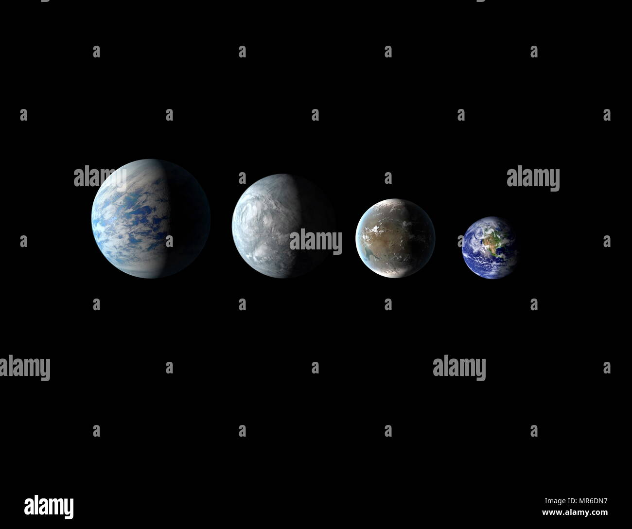 Relative sizes of the newly discovered habitable-zone planets and Earth. Left to right: Kepler-69c, Kepler-62e, Kepler-62f and Earth. 2013 - Stock Image