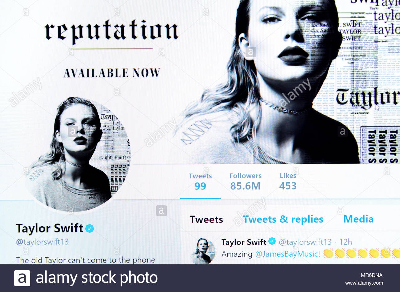 Taylor Swift Twitter page (2018) - Stock Image