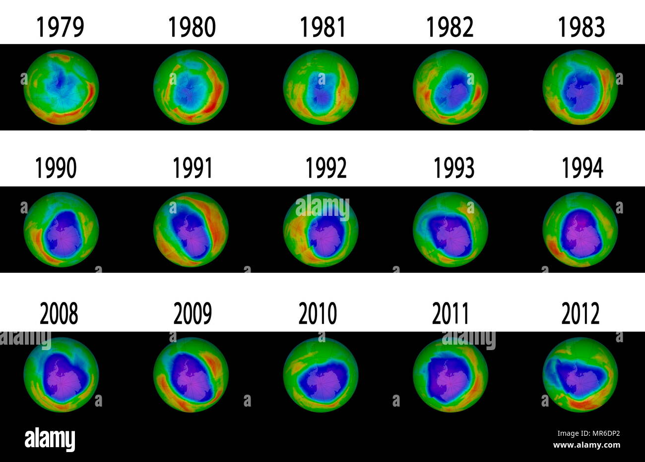 Composite image showing the Antarctic Ozone Hole from 1979-2012 - Stock Image