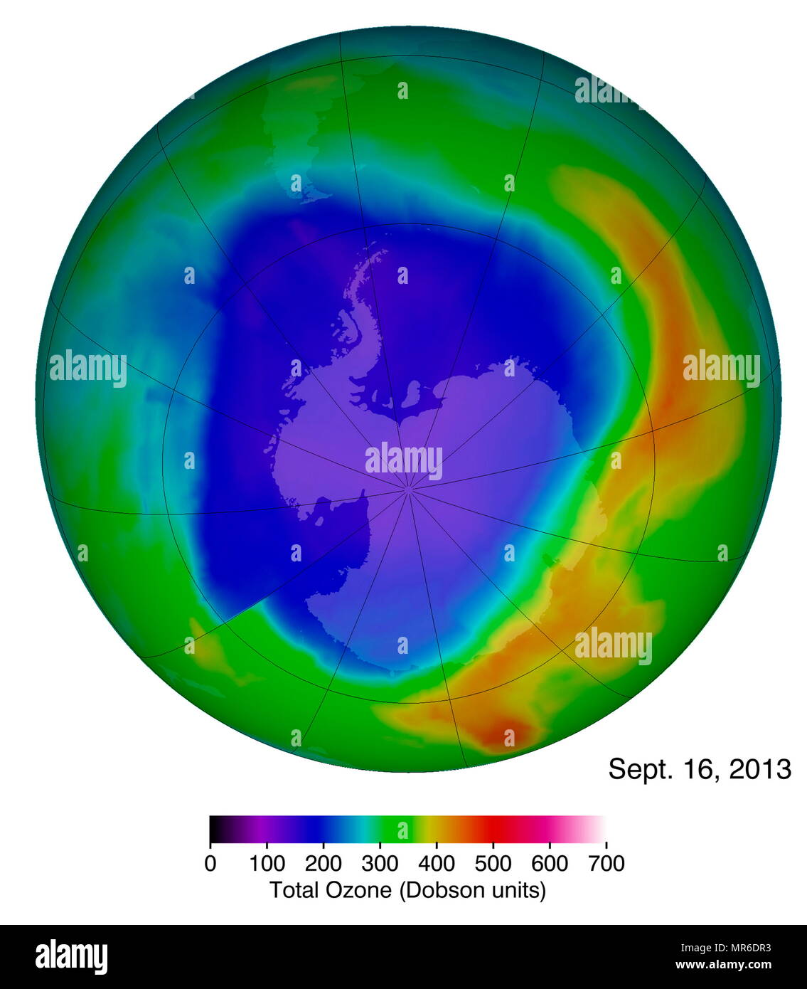 Antarctic ozone hole on Sept. 16th 2013. ozone concentrations to date, as shown in blue, and were captured by the OMI instrument on the Aura satellite. - Stock Image