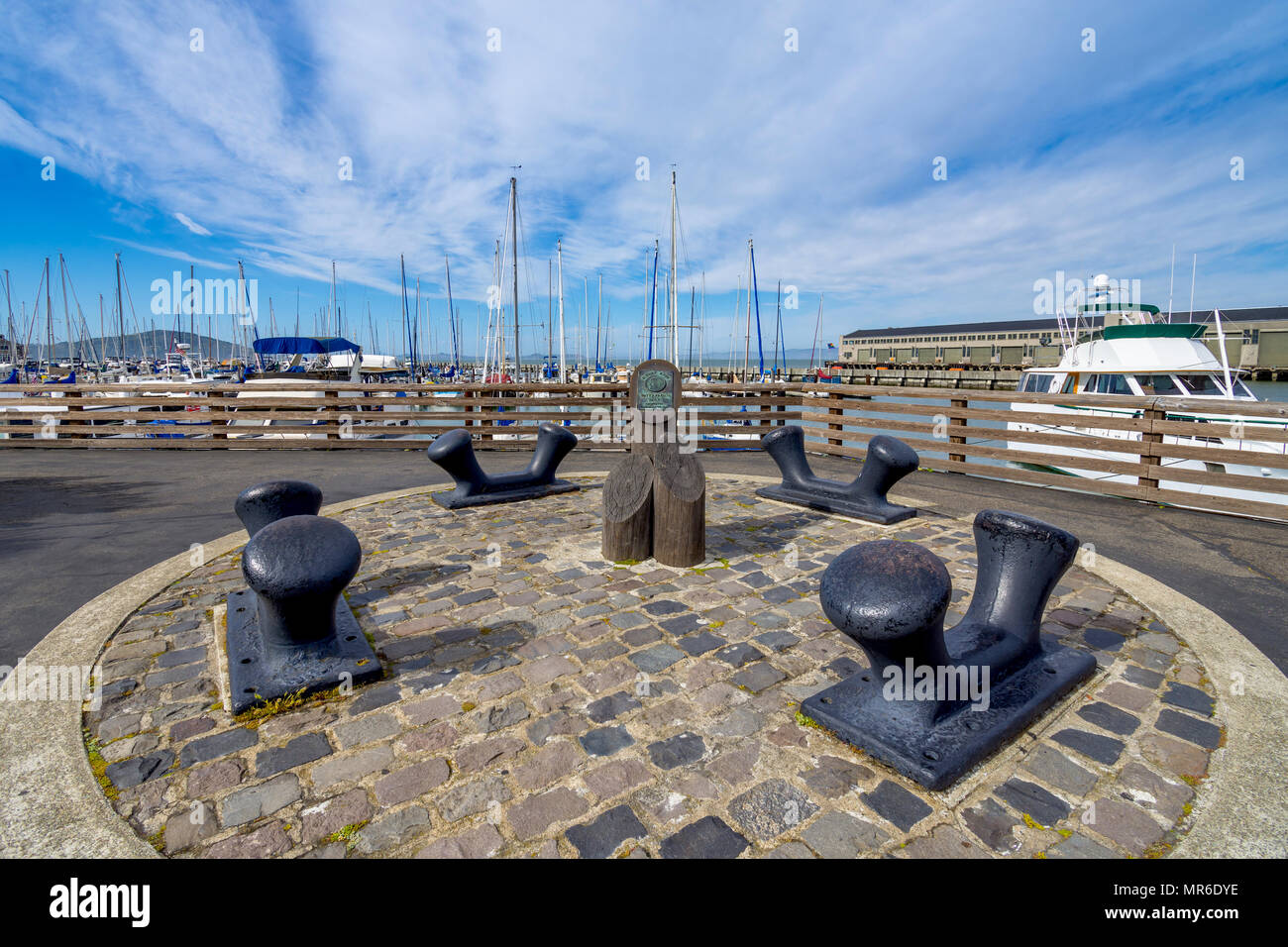 Old ship bollards repositioned on the Sidney Rudy Waterfront Park, Fishermans Wharf, San Francisco, CA, USA. - Stock Image