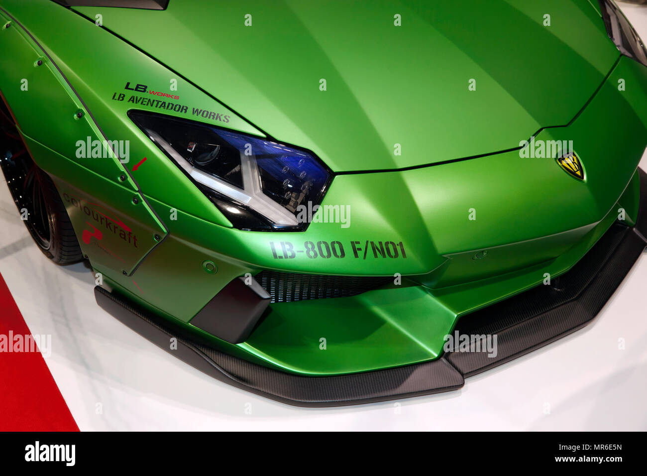 Close-up of the front of a  liberty Walk  modified Lamborghini Aventador, on display at the 2018 London Motor Show Stock Photo