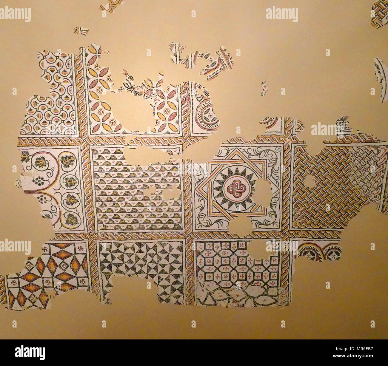 5th century Roman mosaic from the floor of the bishop's house in Geneva, Switzerland - Stock Image