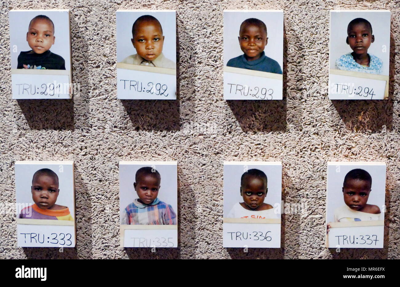 photograph of children separated from their families during the 1994 Rwanda Genocide. This was a genocidal mass slaughter, of Tutsi tribal people, in Rwanda, by members of the Hutu majority. An estimated 500,000–1,000,000 Rwandans were killed during the 100-day period from April 7 to mid-July 1994. - Stock Image
