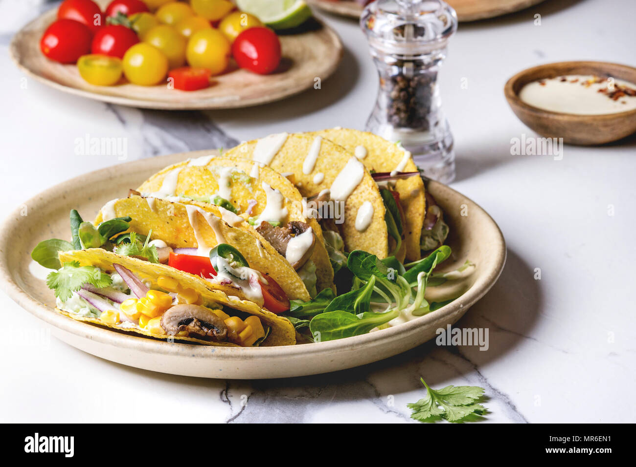 Variety of vegetarian corn tacos with vegetables green salad chili pepper served on ceramic plate with tomato and cream sauces with ingredients abov & Variety of vegetarian corn tacos with vegetables green salad chili ...