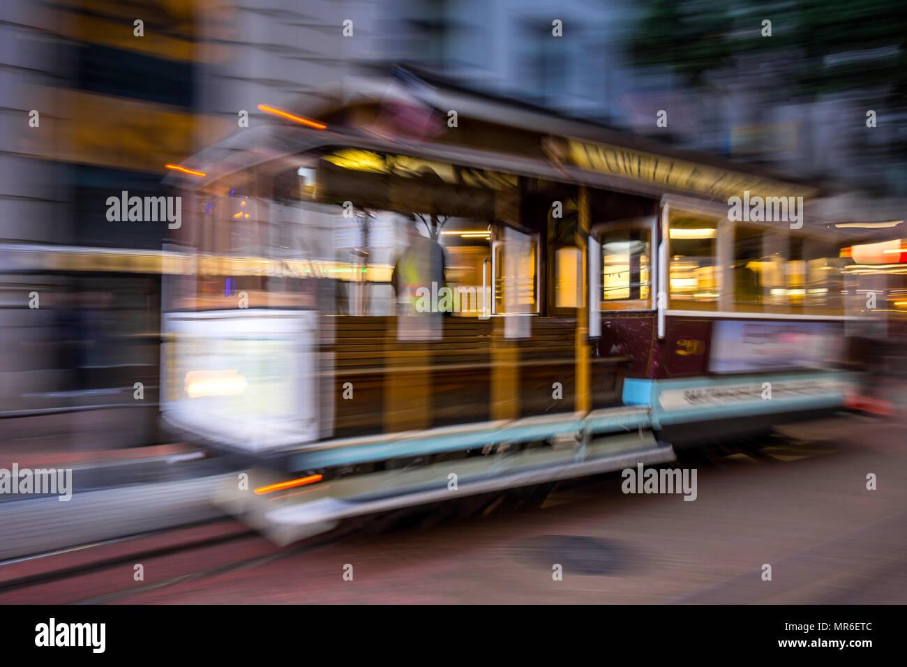 Powell-Mason cable car, San Francisco, CA? USA. - Stock Image