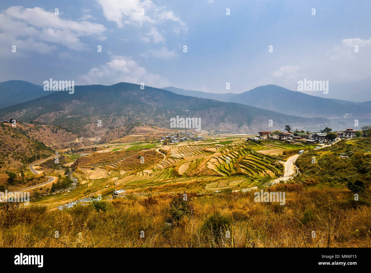 View of Lobesa and rice terraces, Punakha district, Bhutan - Stock Image