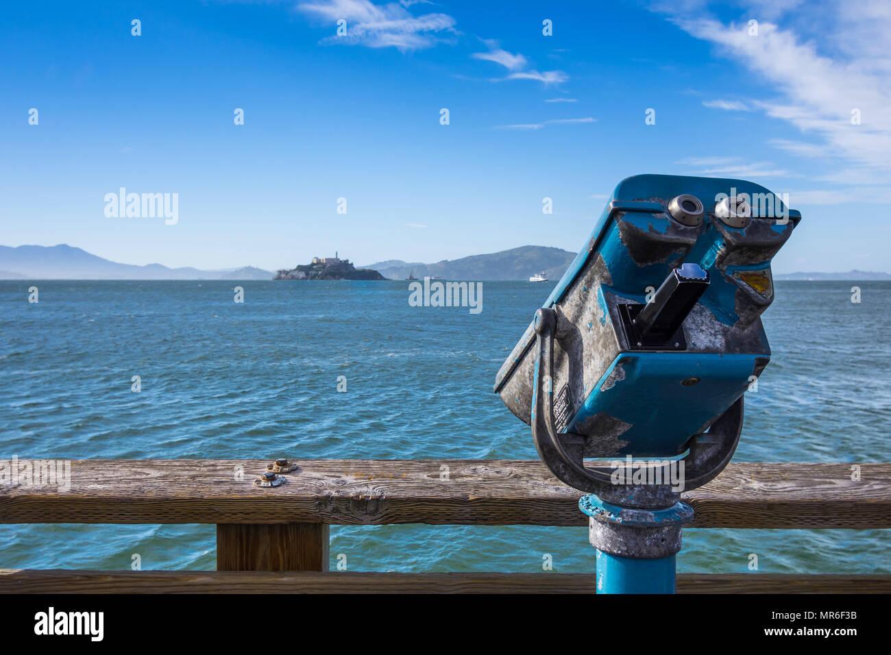 View of Alcatraz from Fisherman's Wharf, San Francisco, CA, USA. - Stock Image