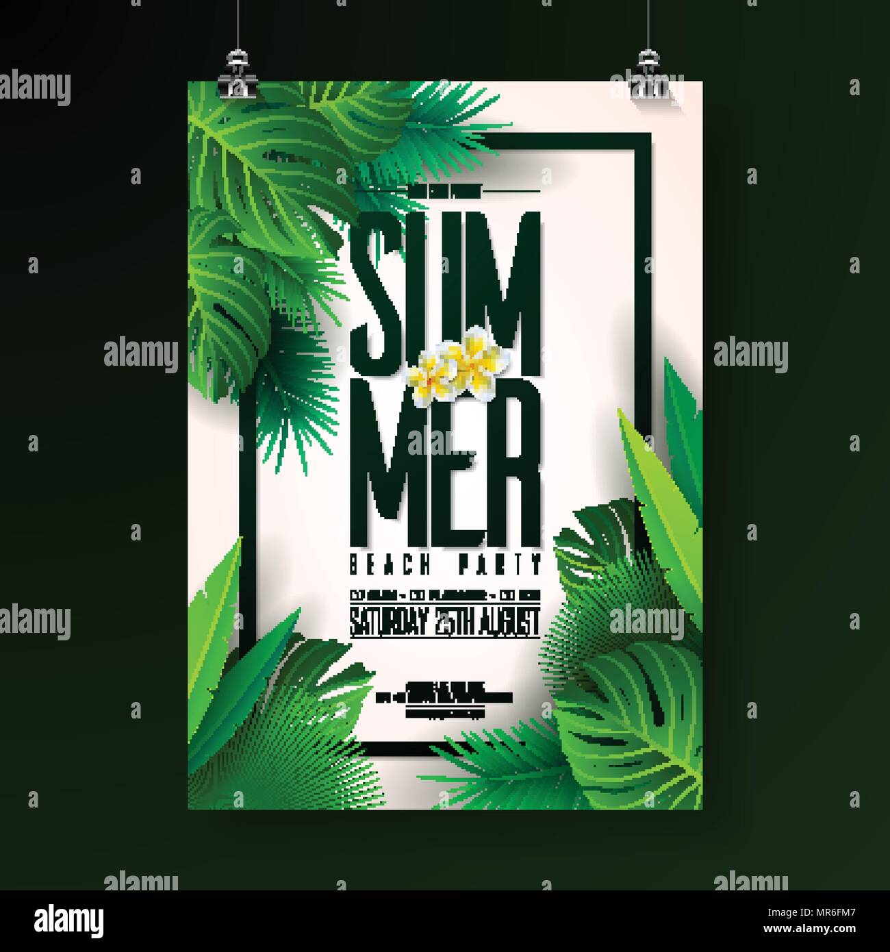 Vector Summer Beach Party Flyer Design With Typographic Elements On Exotic Leaf Background Nature Floral Tropical Plants Flower