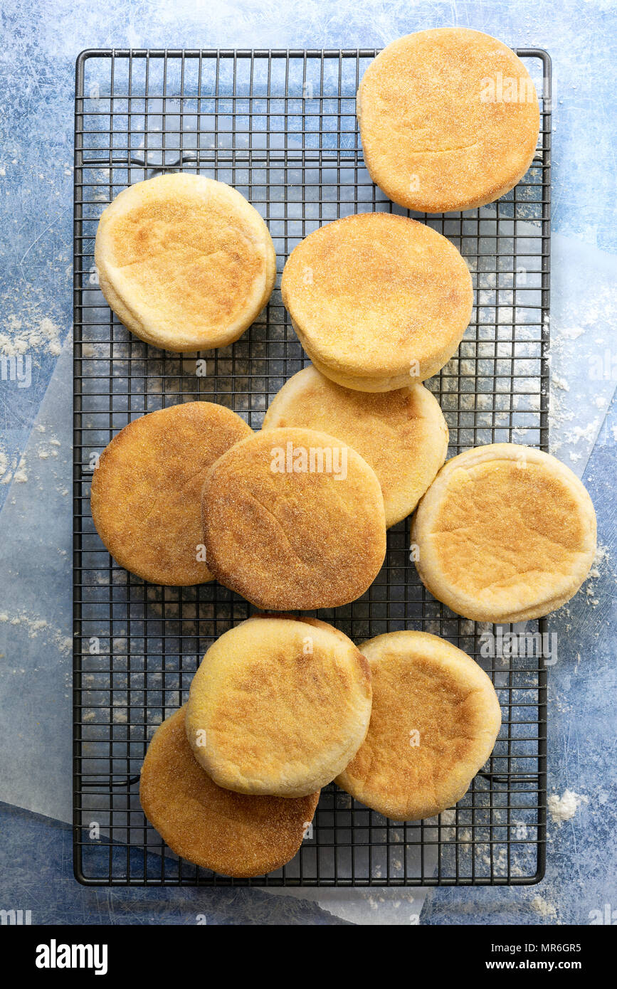 Freshly baked English muffins piled on a wire cooling rack. - Stock Image