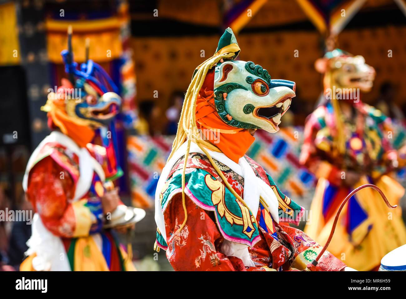 Dancer at Mask Dance, Religious Tsechu Monastery Festival, Gasa District District District Tshechu Festival, Gasa - Stock Image